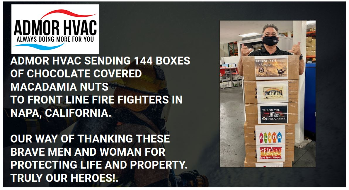 Admor Sending Boxes Of Chocolotes To Frontline California Firefighters